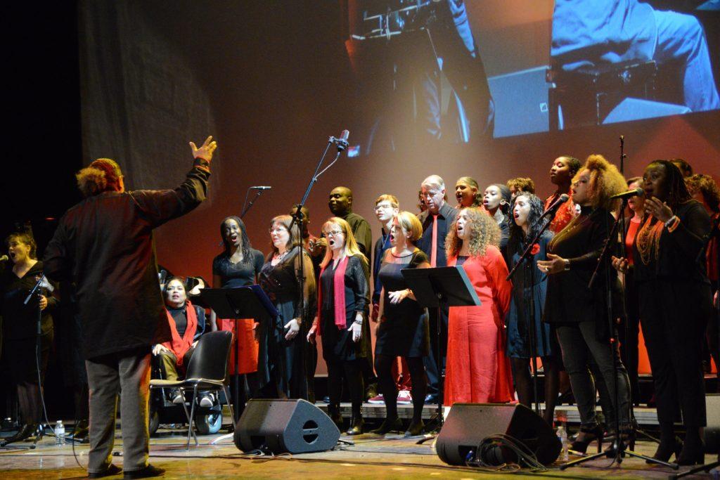 Chorale gospel de la Ville par Georges Sebat, lors des voeux du maire 2019