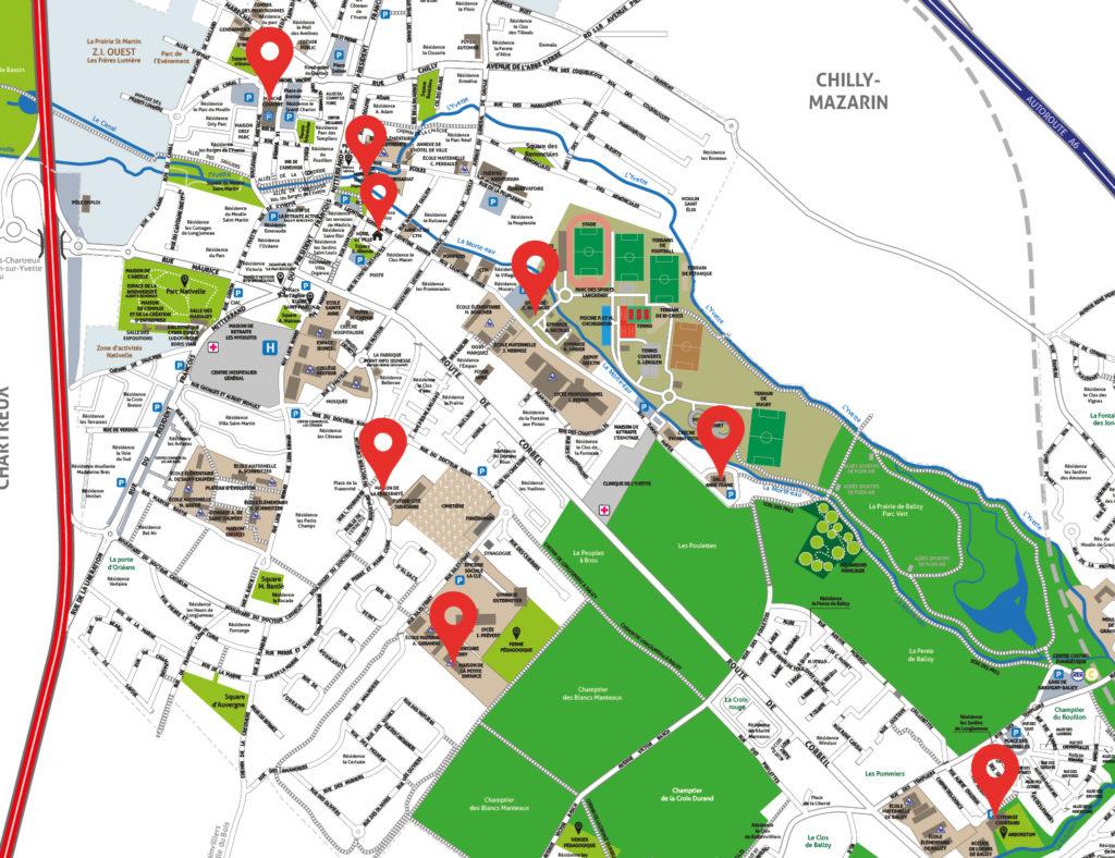 Plan des emplacements des défibrillateurs